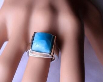 Genuine larimar ring