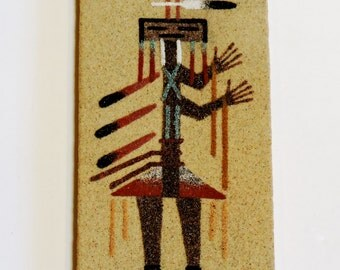 Navajo Sand Painting, Vintage Native American Indian Southwest Home Decor, Spiritual Camel God Signed by Foster itsyourcountry