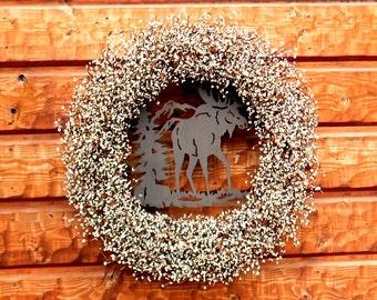 Rustic Wreath-MOOSE Wreath-Cabin Wreath-Cabin Decor-Moose Home Decor-Lodge Decor-Large Wreath-Rustic Cabin Decor-Custom Made-Woodland Decor