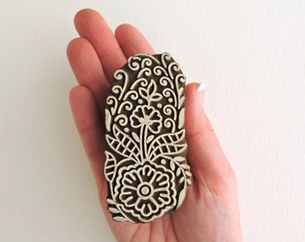 Flower Stamp, Floral Stamp, Indian Printing Block, Hand Carved Wood Stamp, Clay Stamp, Wooden Ceramic  Pottery Textile Stamp from India