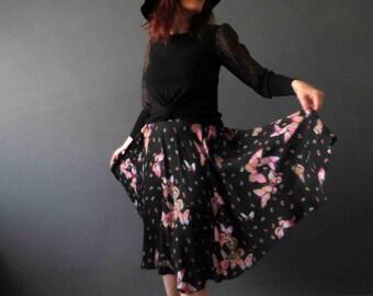 Vintage 70s Boho Butterfly Print Black Circle Dolly Skirt Small