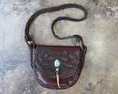 1970's Leather Bag / Tooled Leather Boho Handbag / Vintage Patina Brown Leather Purse