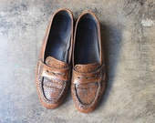 8 / Women's Brown Leather Loafers / Vintage Driving Shoes / Size 38 1/2