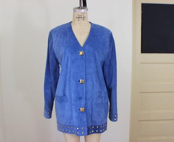 Studded Sky Blue Suede Jacket / Vintage Gold and Blue Coat / Soft Suede Outerwear