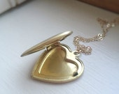 Gold Heart Locket Brass Pendant Antiqued Vintage 14k Gold Filled Chain Simple