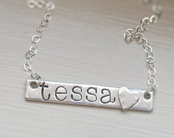 Name Necklace Personalized Sterling Silver Heart Simple Jewelry Custom Hand Stamped Gift for Mom Mommy Present