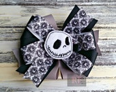 Stacked Boutique Loopy Pinwheel Bow with Jack Skellington Felt Clip Center - Nightmare before Christmas Hairbow - Handsewn Bow - (RTS)