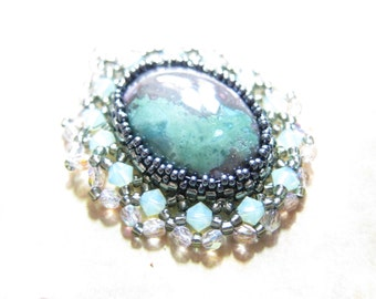 Swarovski Crystal Agate Gemstone Cabochon Pendant