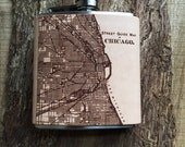 Flask | Laser Etched Leather | Chicago Map | Natural
