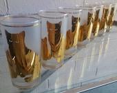 CULVER CAT GLASSES Set of 7 HiBall Barware Glassware 22k Gold Kitty Cat Lover