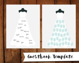 Bridal Shower Guestbook DIY Printable Gray Dress Thumbprint Guest Book 8.5x11