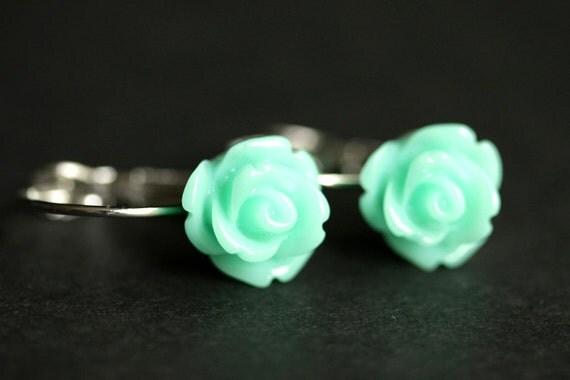 Aqua Rose Earrings. Dangle Earrings. Aqua Earrings. Flower Earrings with Silver Lever Back Hooks. Flower Jewelry. Handmade Jewelry.
