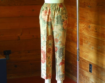 vintage cotton botanical print pants / size xs small