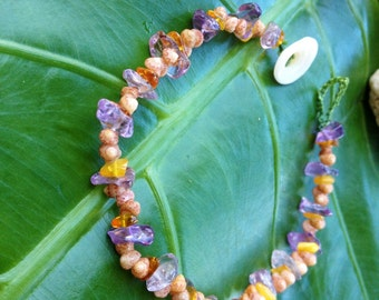 Amber Amythest SeaShell Anklet Puka Shell Clasp Beach Handmade Island Style Mermaids - Made On Kauai Kauai Hawaiian Shell Jewelry