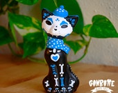 Blue Cat Winter Suit scarf Figurine - Sculpture painted handmade Unique - Sugar Cat Skull Day of the Dead - Ganbatte Black Cats
