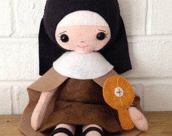 Catholic Doll - Saint Clare - Wool Felt Blend - Catholic Toy - Felt Doll