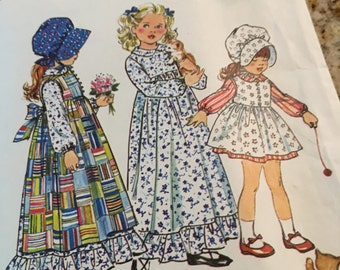 simplicity pattern 5996 Child's Holly Hobbie dress and pinafore in two lengths and bonnet 1973 FREE SHIP size 4