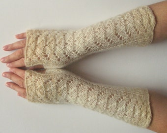 Beige Fingerless Gloves Knit Gloves Winter Gloves White Cream Brown Long Fingerless Gloves
