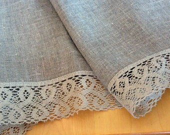 "Linen Tablecloth Burlap Square Prewashed Valentines Day Easter Mother's Day Gift Easter Tablecloth Natural Gray Linen Lace 57"" x 57"""