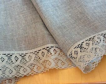 "Linen Tablecloth Burlap Square Prewashed Natural Gray Linen Lace 57"" x 57"""