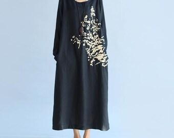 women autumn wear loose maxi dress Cotton and linen black long sleeved dress