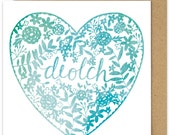 Welsh Thank You Diolch Card. Teal Blue Papercut Watercolour Style Heart Thank You Card. Floral diolch Card design. Cardiau Cymraeg