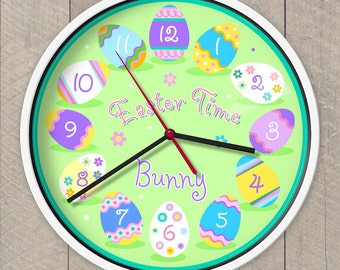 Kids Personalized Easter Egg Clock, Kids Clock, Easter Bunny Clock, Children's Wall Clock
