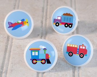 Kid's TrainsPlane and Trucks Drawer Knobs, Ceramic Drawer Knobs, Decorative Knob (Singles and Sets of 4), Kid's Bedroom Decor, Nursery Decor