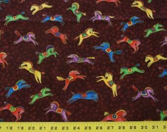 OOP Laurel Burch DANCING HORSES Fabric Small Bright Jewel Tone Running Leaping Horses on Burgundy