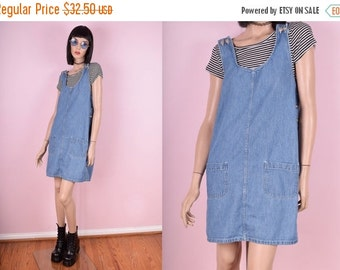 SUMMER SALE 90s Denim Jumper Dress
