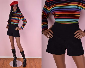 90s Black High Waisted Shorts/ Small/ 1990s
