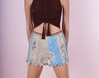 ON SALE 90s Beaded Tribal Shorts