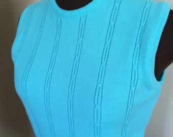 60s Bright Blue Sweater Vest Size Small