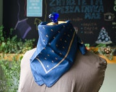 Vintage Indian Blue Scarf - Silk square shawl with gold details