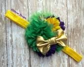 Mardi Gras Headband Infant/Toddler Headband- Green and Gold Infant/Toddler Headband--Photo Prop- Photography Prop- Newborn