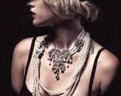 Wedding jewelry, OOAK Bridal bib necklace, vintage inspired pearl necklace, rhinestone Victorian bridal necklace