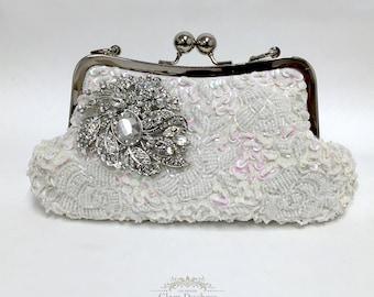 Bridal clutch, pearl clutch, Victorian evening bag, bridal bag, briesmaid clutch, White clutch, wedding clutch, formal bag, wedding bag