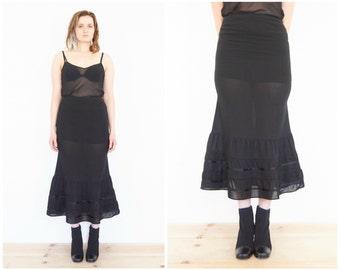 90s Emporio Armani Sheer Black Flounce Skirt / Size 6