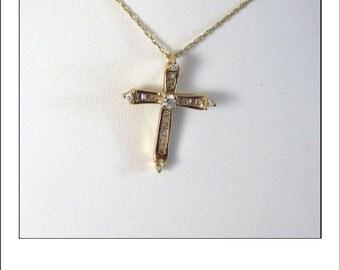 Vintage 10k Diamond Baguette Cross Pendant and chain