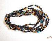 Native American Beaded Stetch Bracelets In Purple, Turquoise and Black Set of Six