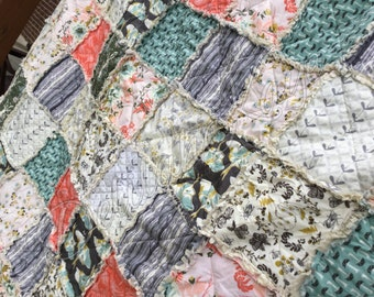 Pick Size Rag Quilt - Forest Floor - King Queen Full Twin xl Throw - Coral - Gray - Blue - Pink - Modern Handmade Bedding