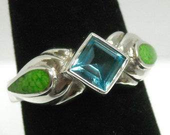 Vintage Blue Topaz & Australian Lime Inlay Solid Sterling Silver Ring ~ Size 10 ~ Wholesale Price ~