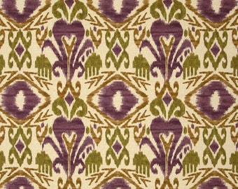 Two 20 x 20  Custom  Designer Decorative Pillow Covers for Indoor/Outdoor - Ikat - Brown/Plum/Olive