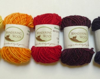 Mini Skeins - Hand Dyed Merino Cashmere Nylon Sock Yarns - Set of 5