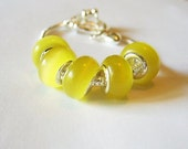 5 Lemon Drop Yellow & Chartreuse, Murano Glass, Cat's Eye, Lamp-work, 925 Stamped Cores, European, Large Hole, Charm Beads for Bracelets,