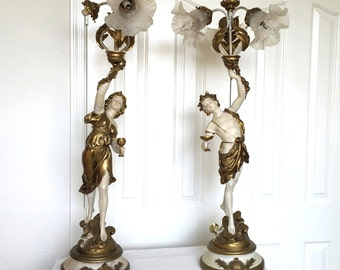 """Art Nouveau lamps 37"""" high newel post lamps L&F Moreau Collection bar lamps neoclassical Greek style boy and girl signed spelter 37"""" +"""