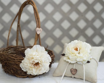Cream Flower Twig round personalized wedding large rustic flower girl basket and ring bearer pillow. Customize with flower and initials