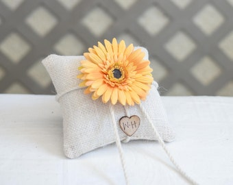 Custom ring bearer pillow you pick the daisy flower with bride and groom initials stamped on wood heart