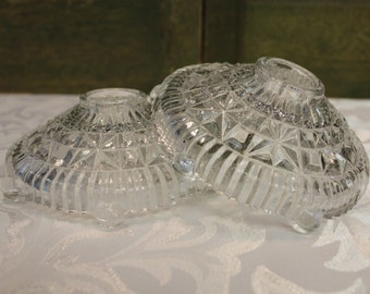Vintage Pressed Glass Candle Stick Holders
