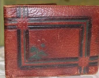 Vintage Tooled Leather Wallet - Art Nouveau Floral Design